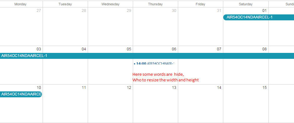 increase calendar height and width according event text size